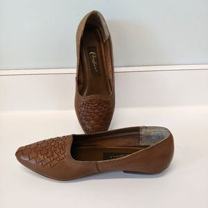 Vintage Cables Brown Leather Flats, Weave 8.5